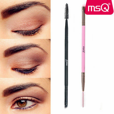 Duo Brow Makeup Brush Bamboo Handle Double Sided Eyebrow Flat Angled Brushes MSQ