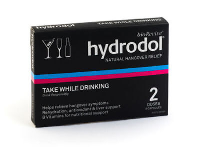 Hydrodol Hangover Relief 16 Capsules/Pills Drinking Alcohol Supplement Australia