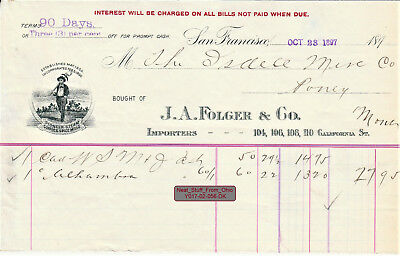 J. A. Folger & Co. Coffee Invoice: Isdell Mercantile Co., Pony, Montana Oct 1897