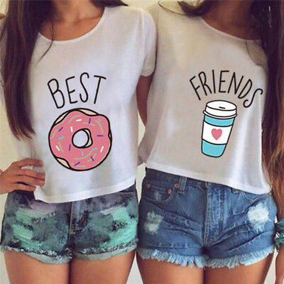 T-shirt Funny Best Friend T Shirt Donut And Coffee Duo Flowy Print Tees Couple