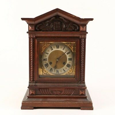 Antique Carved Walnut Mantel Clock by Junghans