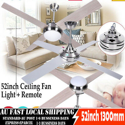 Modern 4 Blade LED Ceiling Fan with Light Lamp in White and Remote 52inch 1300mm