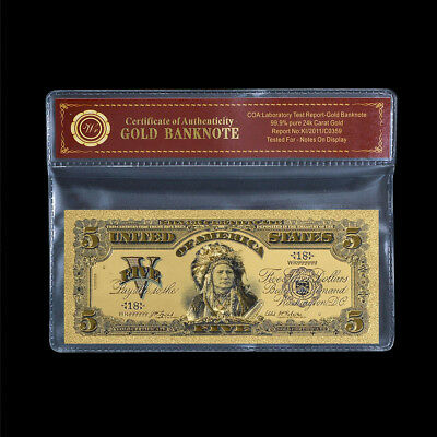 WR American Indian Chief 1899 $5 Old US World 24K GOLD Banknote Collection + COA