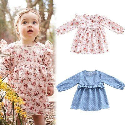 Toddler Kids Baby Floral Long Sleeve Dress Girls Princess Party Casual Dress New