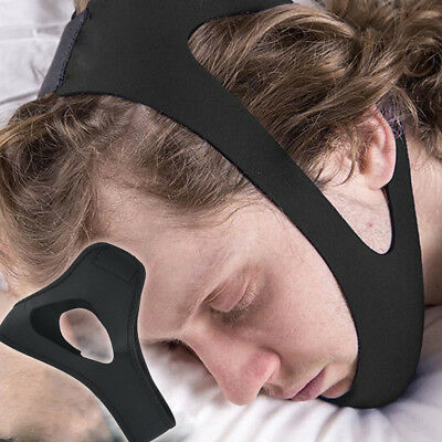 Black Anti Snoring Chin Strap Belt Stop Snore Device Apnea Support Solution UK