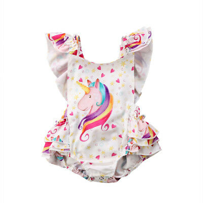 Newborn Baby Girls Unicorn Backless Romper Bodysuit Jumpsuit Outfits Set Sunsuit