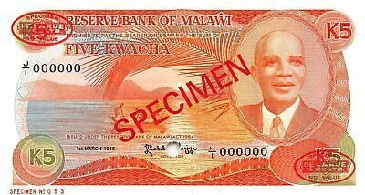 Malawi  5  Kwacha  1.3.1986  P 20as  Series  J/1  Uncirculated Banknote