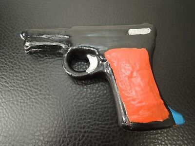 MID CENTURY  POTTERY CERAMIC CLAY WHISTLE TOY  GUN-SHAPED TOY Signal Whistle