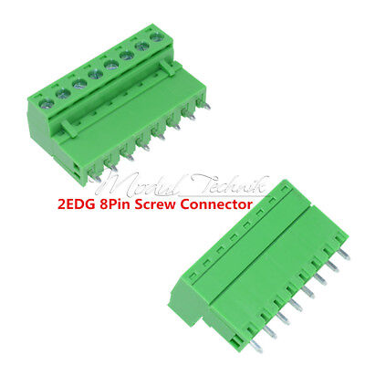 10sets 8Pin 2EDG Plug-in Screw Terminal Block Connector 5.08mm Pitch Right Angle