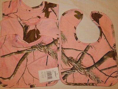 4 Cabelas Bibs Realtree Pink Brown Camo NEW Feeding Burp Large Bib Lot baby