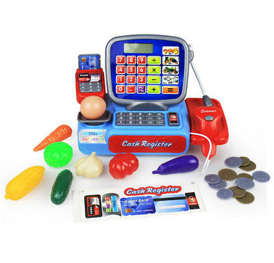 Supermarket Till Kids Cash Register Toy Gift Set Child Girl Shop Role Play Blue