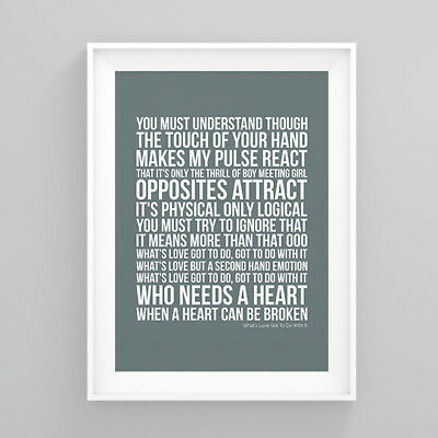Tina Turner What's Love Got To Do With It Lyrics Poster Artwork Song Print