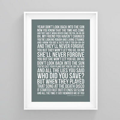 The Libertines Don't Look Back into the Su Lyrics Poster Artwork Song Print