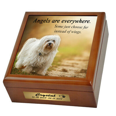 Dog Memorial Cremation Box Urn. Personalised - Your Image & Script. We Print