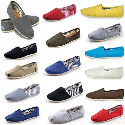 New Women Men's Shoes Slip-on Casual Flats Solid Canvas Leisure Loafer Shoes A01