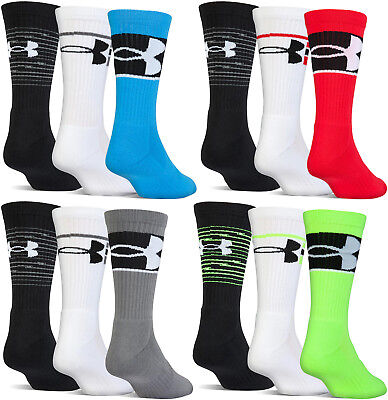 Under Armour UA Training Boys Youth Cushioned Crew Socks 3 Pack Basketball