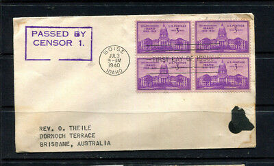 Usa 1940 Ww2 Stamp Cover & Fdc Open By Military Censor Idaho To Australia