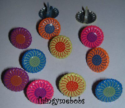 12 Bright Daisy Flower/flowers Brads - Card Making/scrap Booking/crafts - Floral