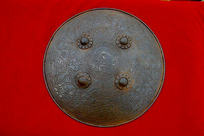 Indo Persian Mughal Rajput Hindu God Goddess Avatar Shield Dhal Sipar Armour
