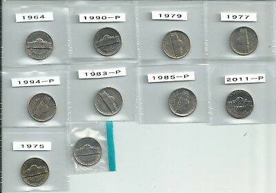 USA 5 cent (Nickels) - 10 coins Various Dates mostly Mint Condition