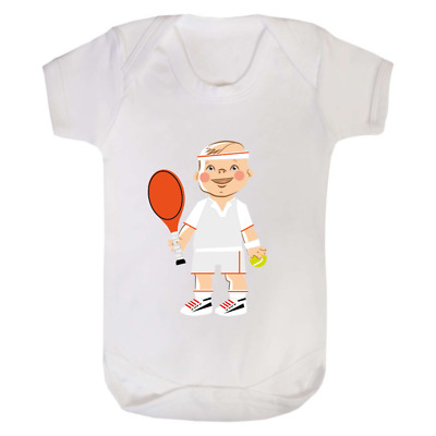 Baby Tennis Player Babygrow Baby Grow Babysuit Vest Suit Funny Gift Newborn Cute