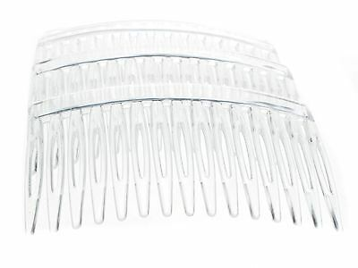 4 x 7cm Clear Plain Side Hair Combs Slides Grips Hair Accessories UK