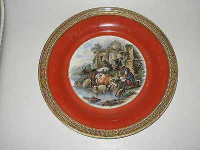Rare 19th. Century Pratt Ware plate in the ' Cattle & Ruins ' pattern.