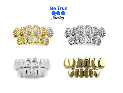 24k Gold Grillz / Silver Grillz / CZ Stone Grillz Top/Bottom Sets