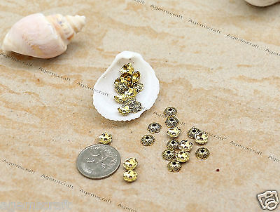 50 nice small  flower Bead caps Antique Gold tone 6mm x 2mm,Craft Jewellery new