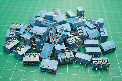 20pcs 3 Pin Plug-in Screw Terminal Block Connector 5.0mm Pitch Panel PCB Mount