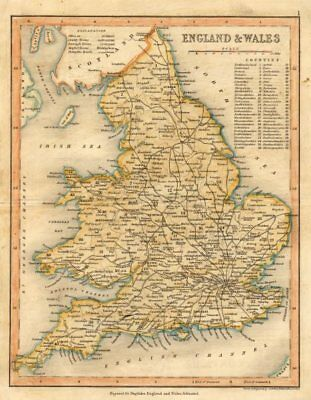 ENGLAND & WALES Roads by ARCHER & DUGDALE c1845 old antique map plan chart