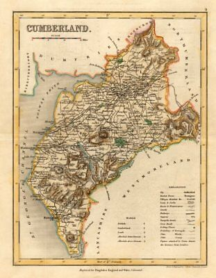 CUMBERLAND county map by ARCHER & DUGDALE. Cumbria & Lake District. Seats c1845