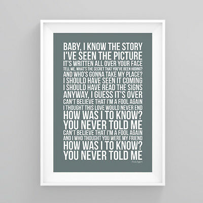 Westlife Fool Again Lyrics Print Poster Artwork