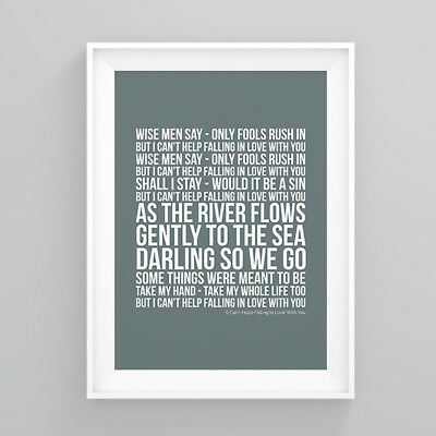 UB40 (I Can't Help) Falling In Love With You Lyrics Print Poster Artwork