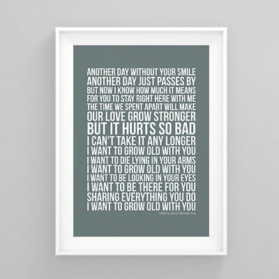 Westlife I Wanna Grow Old with You Lyrics Print Poster Artwork