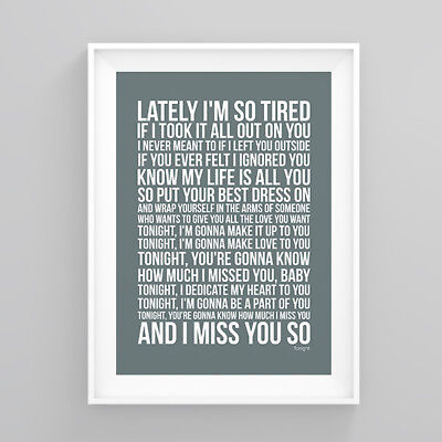 Westlife Tonight Lyrics Print Poster Artwork