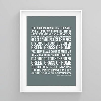 Tom Jones Green Green Grass Of Home Lyrics Print Poster Artwork