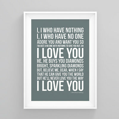 Tom Jones I (Who Have Nothing) Lyrics Print Poster Artwork