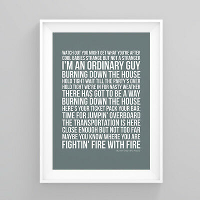 Tom Jones Burnin' Down the House Lyrics Print Poster Artwork