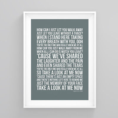 Westlife Against All Odds Lyrics Print Poster Artwork