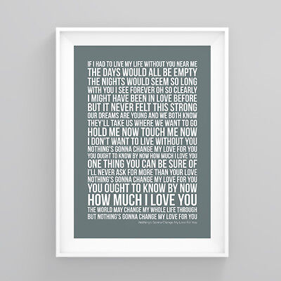 Westlife Nothing's Gonna Change My Love For You Lyrics Print Poster Artwork