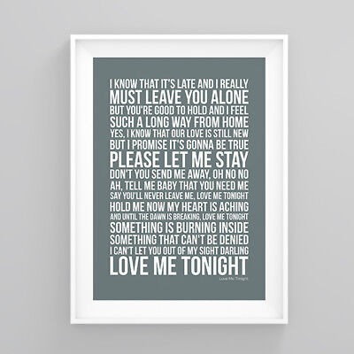 Tom Jones Love Me Tonight Lyrics Print Poster Artwork