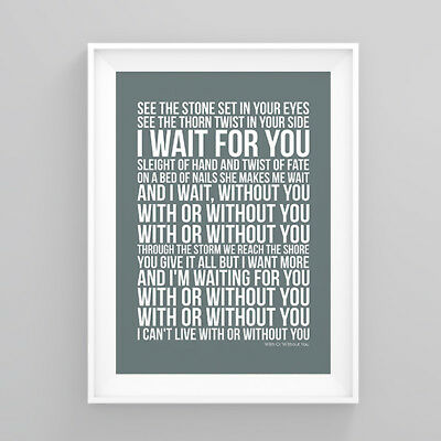 U2 With Or Without You Lyrics Print Poster Artwork