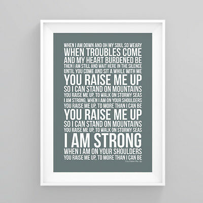 Westlife You Raise Me Up Lyrics Print Poster Artwork