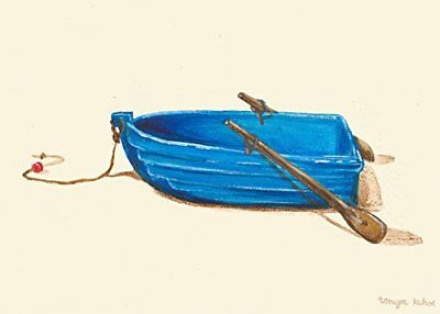Oopsy Daisy Blue Rowboat Stretched Canvas Art by Tonya Kehoe, 14 by 10-Inch