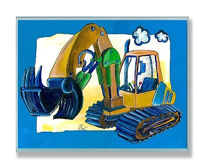 The Kids Room by Stupell Yellow Excavator with Blue Border Rectangle Wall Plaque