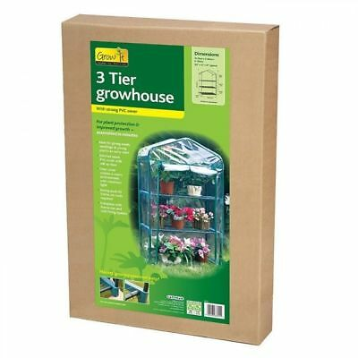 Gardman 08704 3 Tier Greenhouse Garden Plant Mini Growhouse with Stong PVC Cover