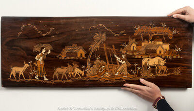 ROSEWOOD MARQUETRY Panel Vintage EAST INDIAN Inlay Village Antique Folk Art Rare