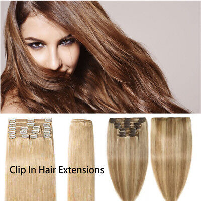 Clip In 100% Remy Human Hair Extensions UK 10-24 Inches Double single weft