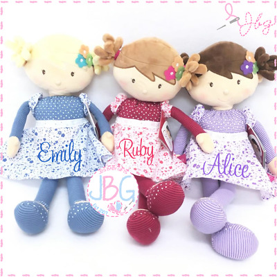 Personalised Rag doll, Beautiful Large Floral Dolls, Embroidered, Luxury Gift